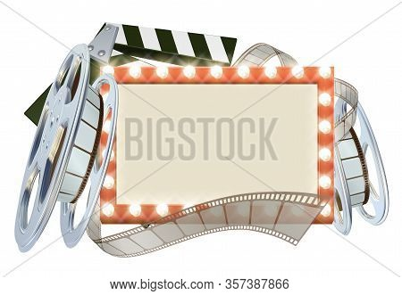 Movie Cinema Film Sign With Light Bulbs Sign Clapperboard And Film Reel