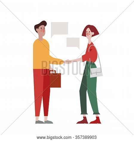 Flat Design Recruiting And Hiring Web Page Vector Template. Young Man And Woman Shaking Hands Over O