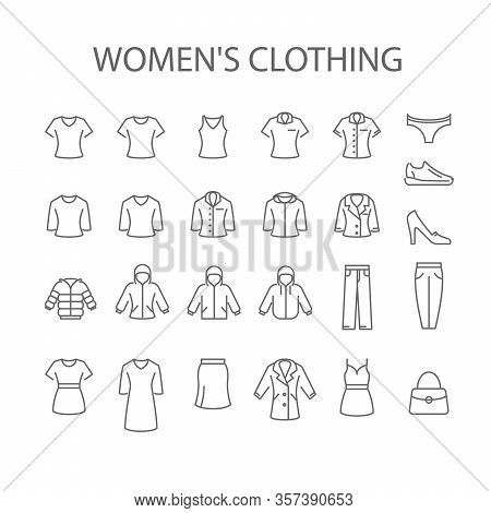 Women's Clothing Icons - Set Of Woman Garments Type Signs, Outerwear Signs Collection