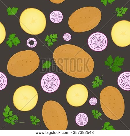 Whole Potatoes And Potato Slices Isolated On Dark Background. Unpeeled Potatoes Tuber With Parsley L