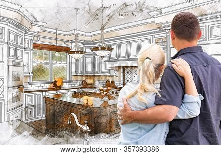 Young Adult Couple Facing Custom Kitchen Drawing Design Details.