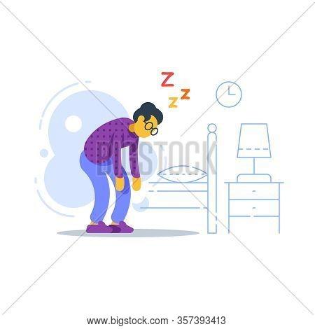 Sleepy Old Woman, Sleep Deprived Or Disorder, Lack Of Energy, Feeling Weak, Vector Flat Illustration