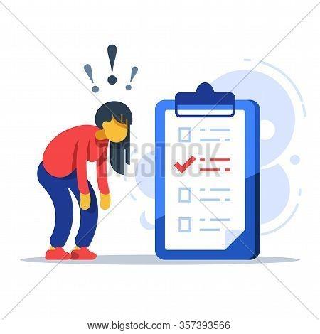 Surprised Woman, To-do List, Checklist Assignment, Task Management, Procrastination Concept, Low Tes