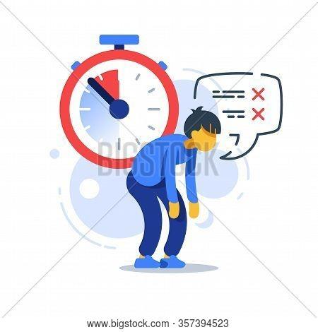 Time Management, Deadline Clock, Tired Man, Procrastination Concept, Vector Flat Illustration