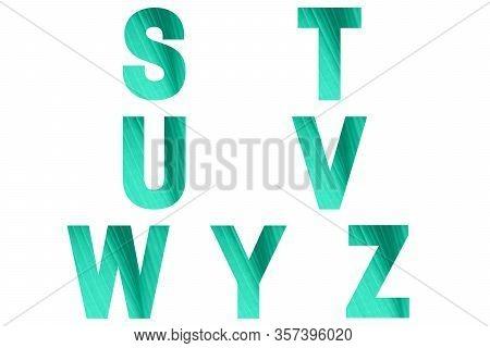 Green Font Alphabet S, T, U, V, W, Y, Z Made Of Natural Bananas Leaf Background.