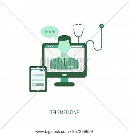 Doctor Online Concept. Healthcare Consultation Or Telemedicine. Vector Illustration For Website, App