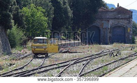 Small Old Yellow Rail Car, Sardinia, Italy
