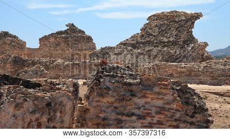 Old Stone Fortress Ruins Closeup, Sardinia, Italy