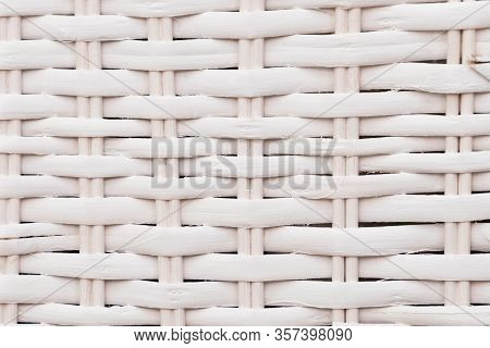 White Wooden Rattan Basket Surface Natural Texture And Background Close Up