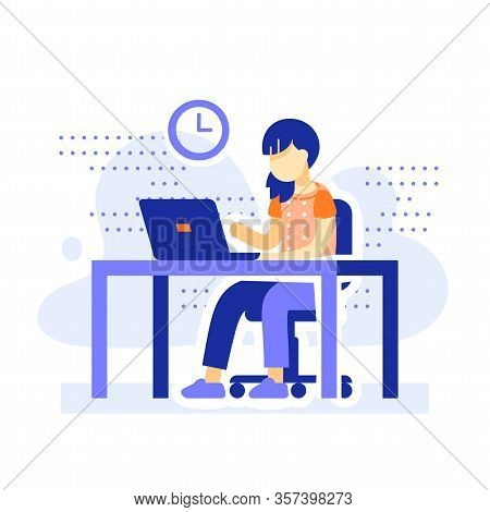 Student Sitting At Desk, School Girl Doing Homework Behind Computer, Online Learning, Distant Educat