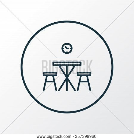 Kitchen Table Icon Line Symbol. Premium Quality Isolated Dining Room Element In Trendy Style.