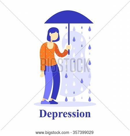 Woman With Umbrella Under Rain, Depression Concept, Unhappy Person, Unlucky Or Miserable, Pessimism