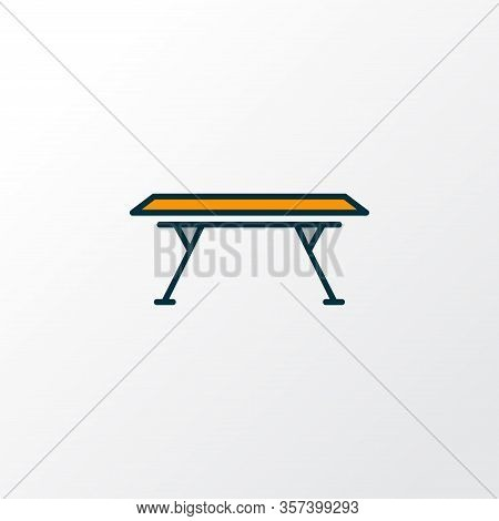 Dining Table Icon Colored Line Symbol. Premium Quality Isolated Restaurant Element In Trendy Style.