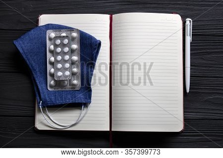 Notebook, Pen And Medicine For Notes And Doctor's Prescription. Text Space.