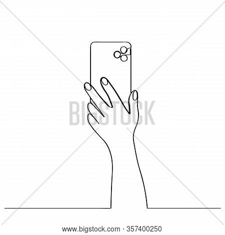 Hand Holds Phone. Drawn In One Continuous Line. Isolated Stock Vector Illustration.