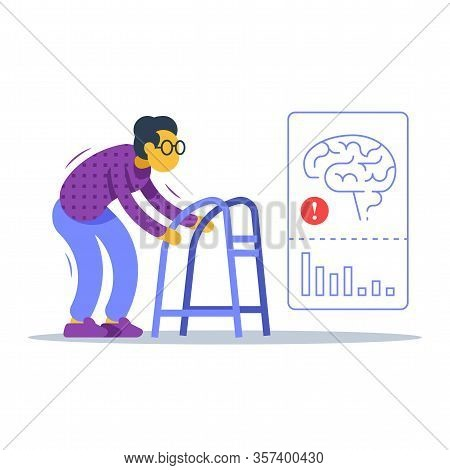 Old Woman Walking With Zimmer Frame, Shaking Hands And Body, Unsteady Moving, Alzheimer Disease Ther