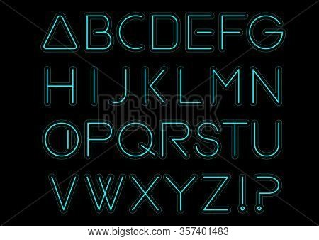 Blue Light Alphabet Font. Neon Letters. Bright Typeset Sign. Typography Text For Decoration And Adve