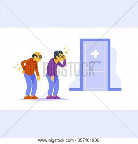 Health Check Up, Annual Medical Procedure, Senior Couple In Queue, Headache And Backache, Old Man An