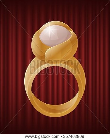 Luxury Golden Ring With Bright White Pearl. Elegant And Luxurious Accessory With Nacre Stone. Expens