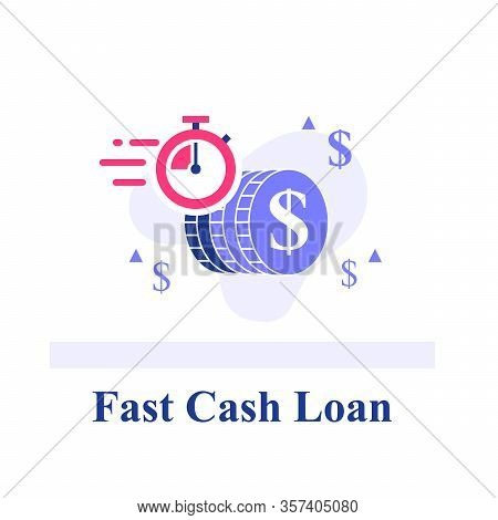 Fast Cash Loan, Dollar Coins And Stopwatch, Financial Solution, Micro Lending, Easy Money Transfer,