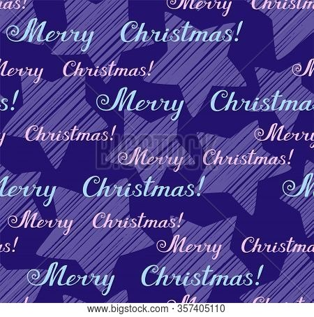 Merry Christmas, Seamless Pattern, Vector, Blue, English. The Inscription In English: