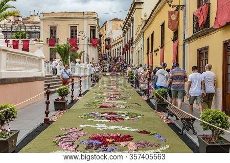 La Orotava, Tenerife, Spain - June 27, 2019. Beautiful Flower Carpets In La Orotava During Corpus Ch