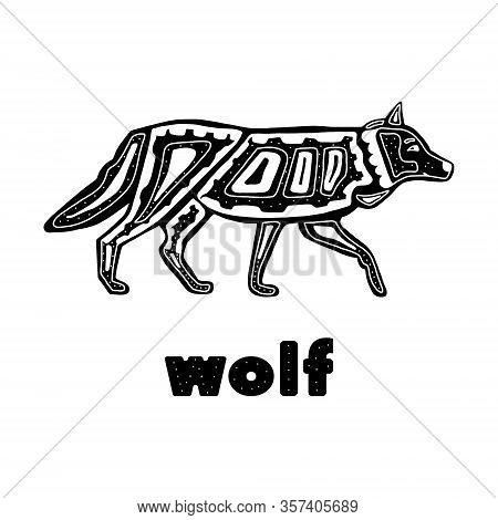 Folk Monochrome Wolf Isolated On A White Background . Vector Illustration Hand Drawn In The Scandina