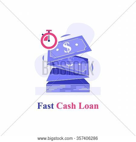 Fast Cash Loan, Bunch Of Dollar Bills And Stopwatch, Financial Solution, Micro Lending, Easy Money T