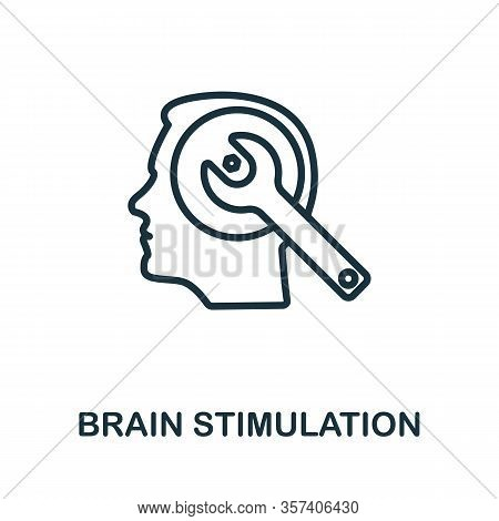 Brain Stimulation Icon. Simple Line Element From Biotechnology Icons Collection. Outline Brain Stimu