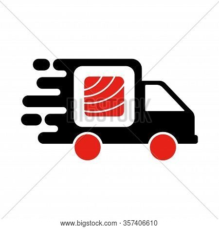 Sushi Delivery Logo Template. Vector Illustration Sushi Roll Sign By Car, Symbolizes The Fast Delive