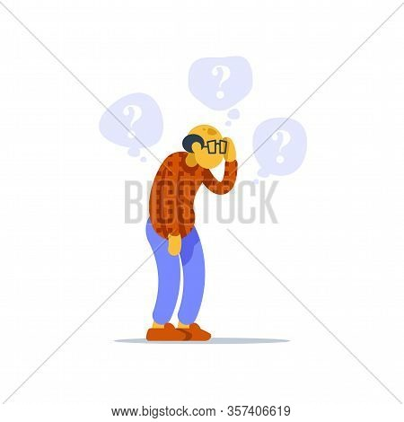 Old Man Standing And Thinking, Concerned Senior Person, Question Mark Bubble, Scratching Head, Worri