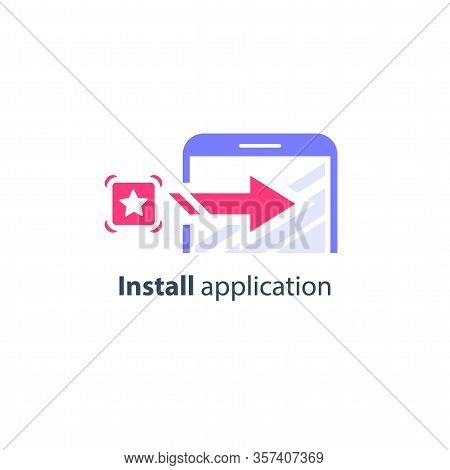 Download And Install Application On Smartphone, Online Service Access, Vector Icon, Flat Illustratio