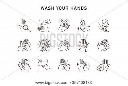 Hand Hygiene Line Icon Set. Simple Minimal Pictogram. Personal Hygiene, Disease Prevention And Healt