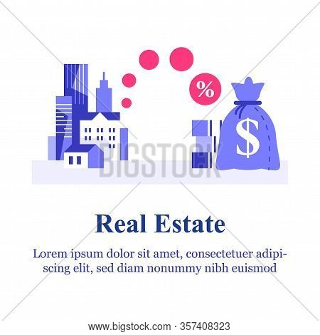 Real Estate Investment Idea, Mortgage Loan, Rental Apartment, Property Market, City Buildings And Mo