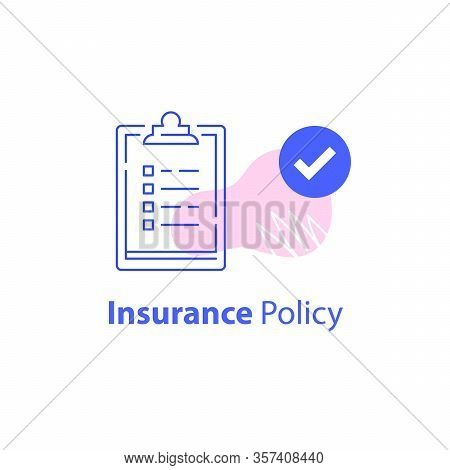 Check List, Insurance Services, Accept Policy Change, Contract Paperwork, Terms And Conditions, Fast