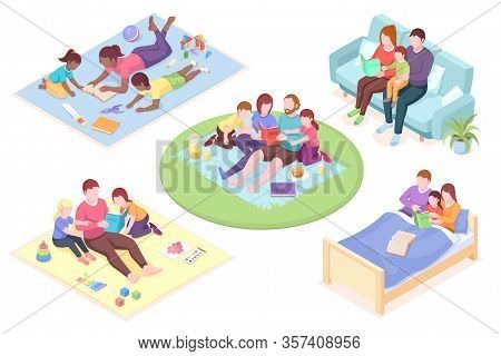 Set Of Isolated Vector Illustration Of Parents Reading Book For Their Children. Father And Mother Re