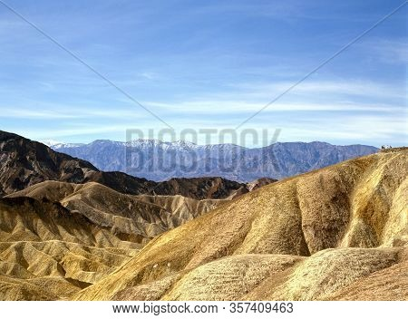 Precise Mountain Folds Well-known Zabriskie-point In Death Valley National Park In The Usa