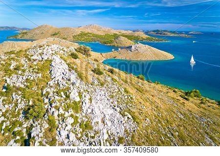 Kornati Archipelago National Park. Amazing Stone Desert Scenery On Kornati Islands And Blue Adriatic