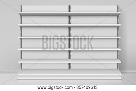 Realistic Empty Shelves For Shop. Mockup Of Supermarket Stand Or Indoor Market Counter, Exhibition S