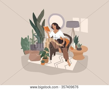 Sweet Girl Reading A Book And Resting With A Cat And Coffee. Feminine Daily Life And Everyday Routin