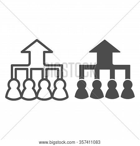 Career Group Growth Line And Solid Icon. Hierarchy Or Flow Chart, Up Arrow And Team Symbol, Outline
