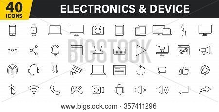 Set Of 40 Technology And Electronics And Devices Web Icons In Line Style. Device, Phone, Laptop, Com