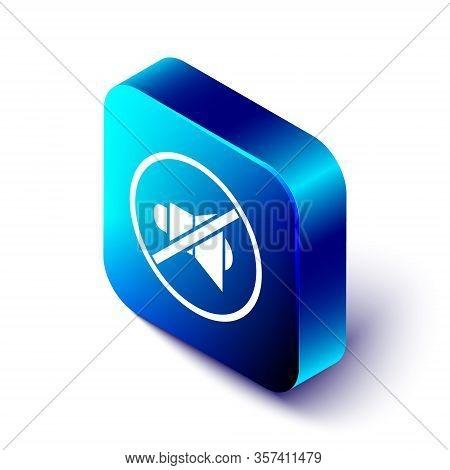 Isometric Speaker Mute Icon Isolated On White Background. No Sound Icon. Volume Off Symbol. Blue Squ