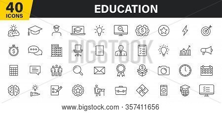 Set Of 40 Education And Learning Web Icons In Line Style. School, University, Textbook, Learning. Ve