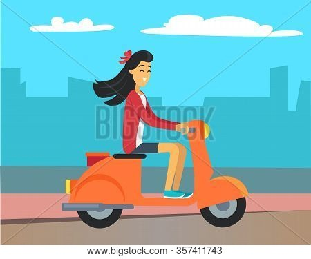 Brunette Woman Riding Scooter On Asphalted Road. Girl Driving Orange Motorbike Outdoor. Silhouette O