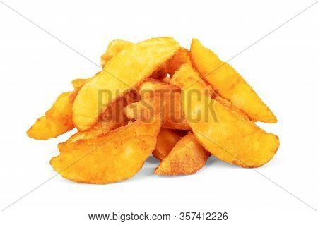 Fried Potatoes On A White Background  Fry, Portion, Pommes, Chips, On,