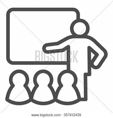 Lecturer Blackboard With Students Line Icon. Lecture Or Training Lesson Symbol, Outline Style Pictog