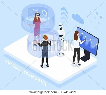 People Testing Innovative Technologies. Man And Woman Interacting With Help Of Cyberspace, Talking T