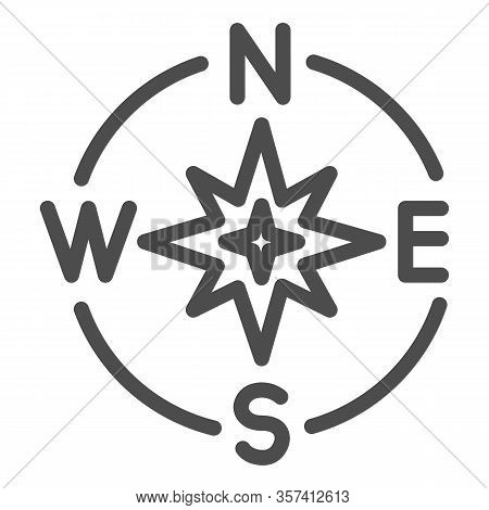 Compass Directions Line Icon. Compassing Star, Oldstyle Discoverer Item Symbol, Outline Style Pictog