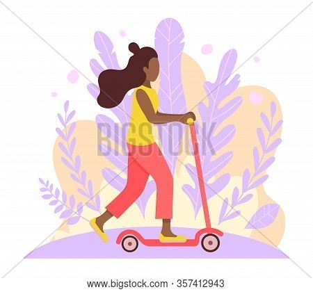 Happy African-american Woman Riding Kick Scooter On White Background. Cartoon Full Length Character.
